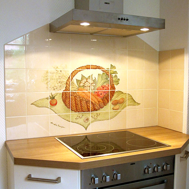 Küchen mit individueller Fliesenmalerei - handgemalte Fliesen von Annelie Somborn