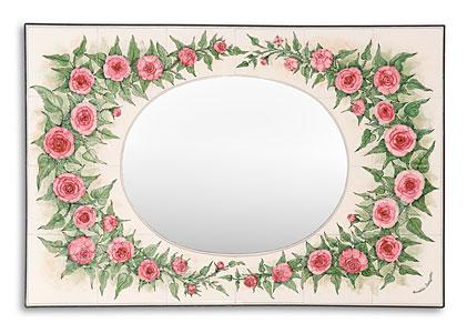 spiegel mit rahmen aus handbemalten fliesen fliesenmalerei annelie somborn. Black Bedroom Furniture Sets. Home Design Ideas